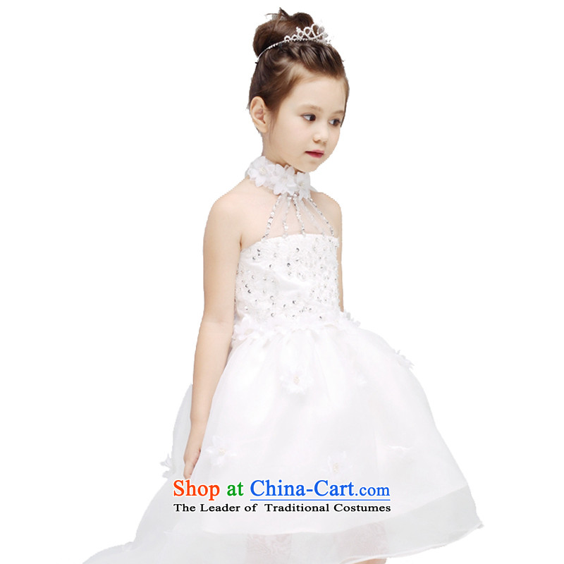 Adjustable leather case package girls princess skirt children wedding dresses white聽150cm