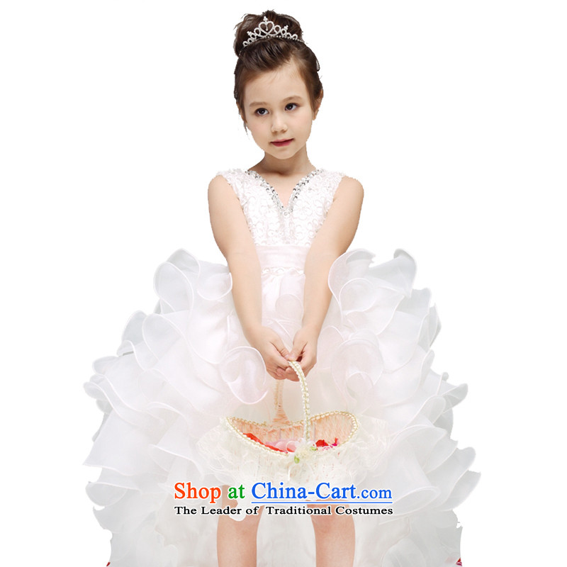 Adjustable leather case package girls princess skirt children wedding dresses tail skirt white聽150cm