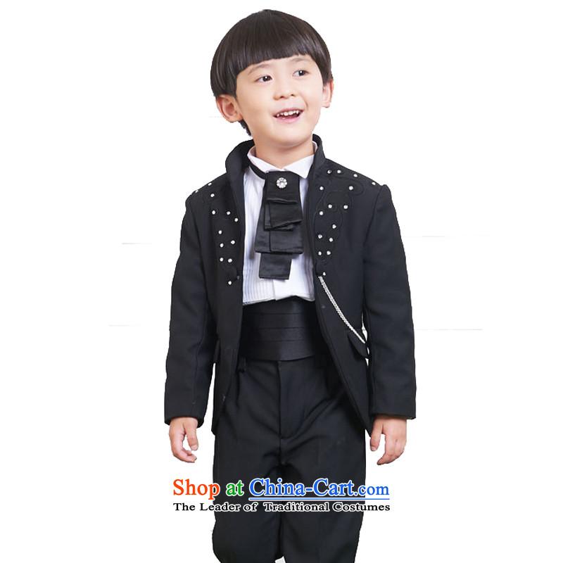 Adjustable leather case package children dress boy upscale small business suit Kit Flower Girls suits black140cm
