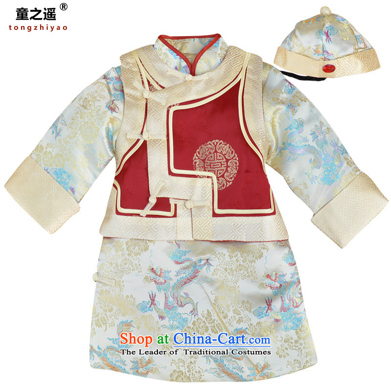 Children away from the new frocks Ma 袿 Children Tang dynasty boy baby New Year dress of Bosnia and serve the boy birthday dress new year with Kim robe5 Code 3230