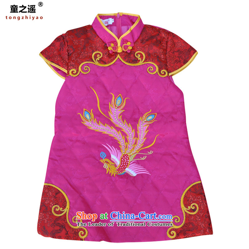 Children away from the Tang dynasty children girls qipao gown giggling Services Phoenix embroidery spring load Bai Nian dresses in red聽11 yards Fengtai District Beijing