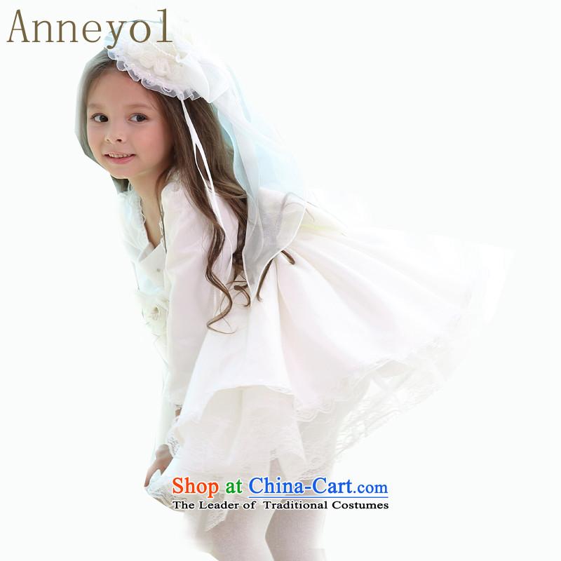 Long-sleeved princess skirt dresses anneyol skirt children dress dress wedding dress wedding flower girl children's birthday dress up children's entertainment services for children of White140