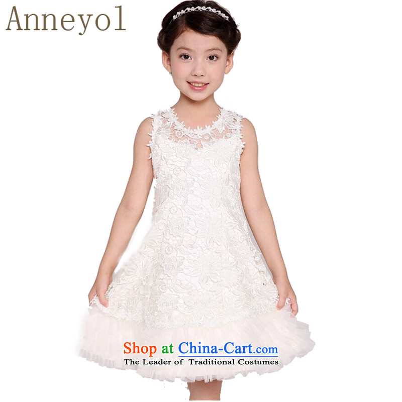 Anneyol girls dress dress wedding dress children wedding flower girls dress birthday dress children's entertainment services children birthday princess skirt dress code 140 recommendations white petticoat 130-140cm
