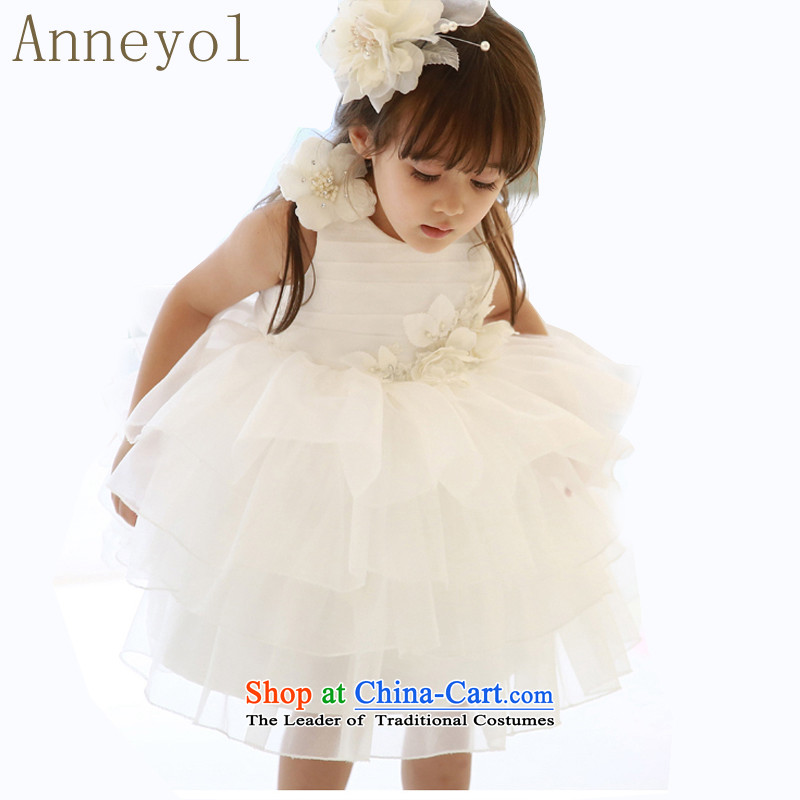 Children wedding princess anneyol skirt flower girl children dress dress Flower Girls wedding photography serving children children costumes white 140 yards 125-140CM Recommendations