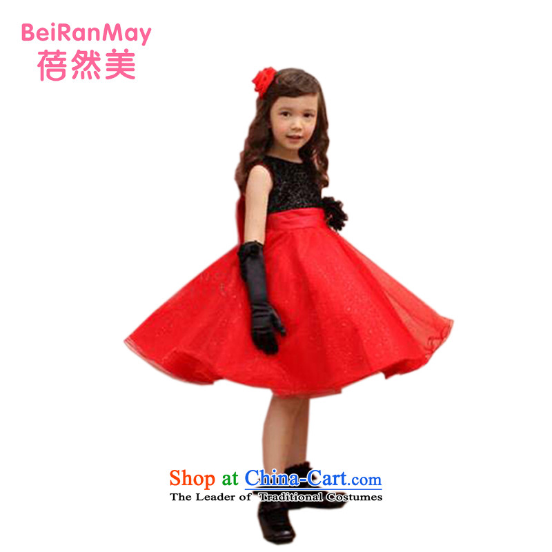 Mrs Ingrid Yeung Mei children so wedding children red will dress flower girl birthday dress Flower Girls dress wedding dress Korean children's wear princess female red聽150 yard 140-150CM Height