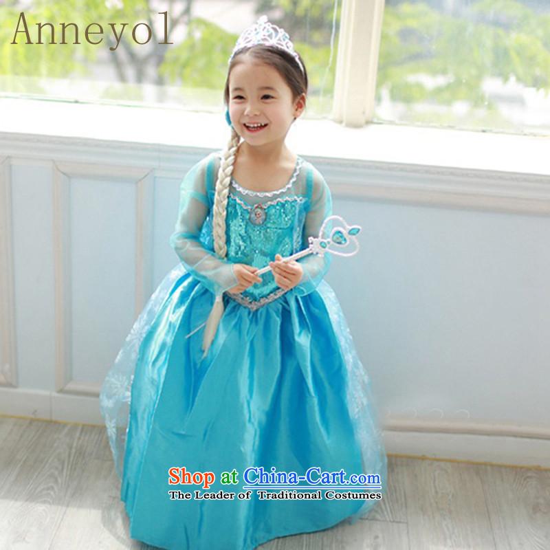 Children dress Princess Snow and ice princess skirt of skirt elsa Aicha  Queen Aisha Princess skirt children loaded blue skirt (wigs + Crown + +  magic wand ... 6004cf0e72c3