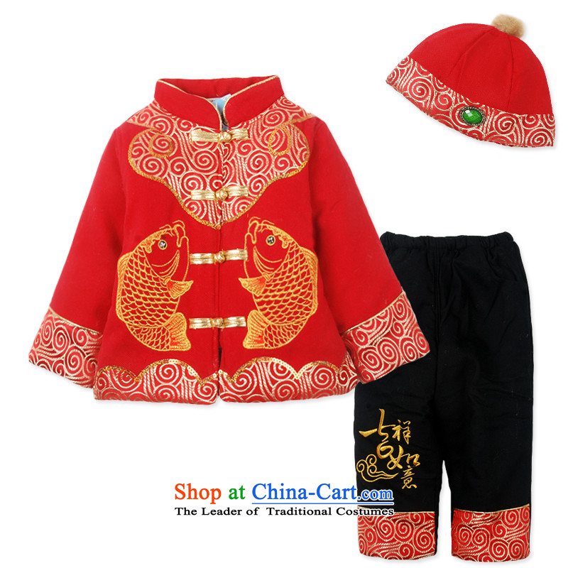 Child Lok Wei winter clothing new products Beas baby boy children Tang dynasty thickened New Year 脙镁貌芒 Kit China Wind聽1-4 years red聽110