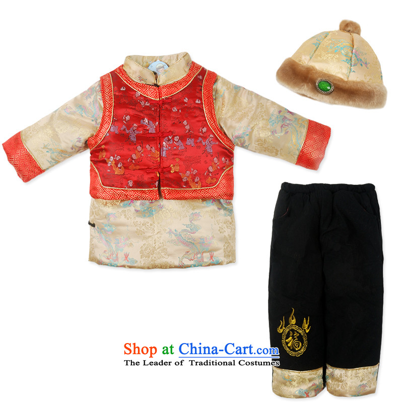Child Lok Wei new winter grade boy baby New Year Tang dynasty satin children sets 4 piece landowners with 1-4 years yellow 110