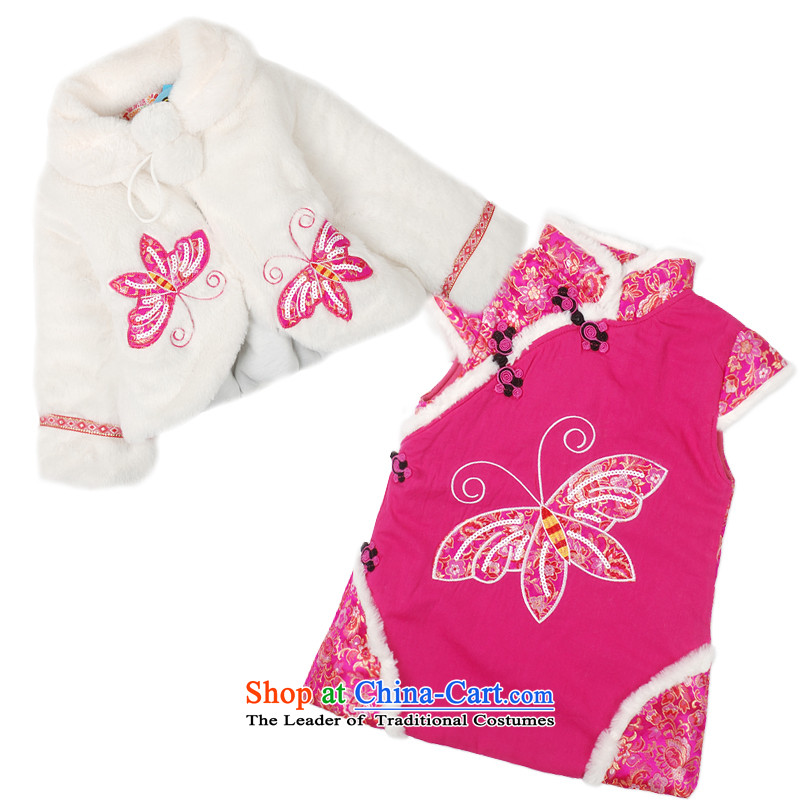 Child Lok Wei new winter clothing girls plush shawl folder cotton qipao two kits baby Tang Dynasty Chinese new year聽1-4 years of Red聽90