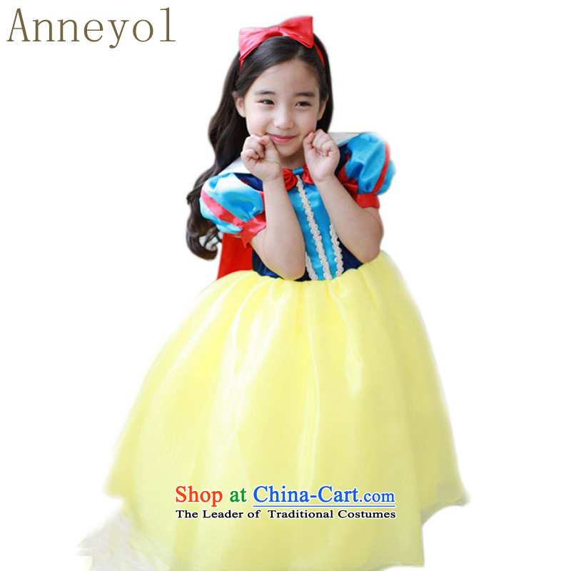 Anneyol skirt snow white gown skirt Halloween dress children birthday party load dress snow white dress child map color (skirt + model hairbands) 140 yards 130-140cm High