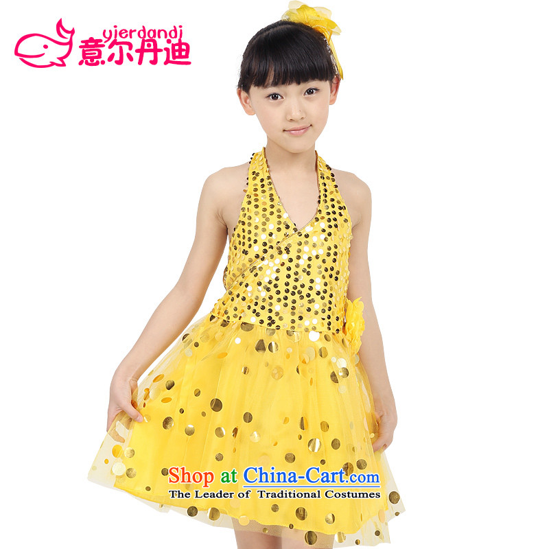 The new child will come on-chip kindergarten pupils dress Dance Dance Dance performances to skirt girls theatrical performances dress yellow 140