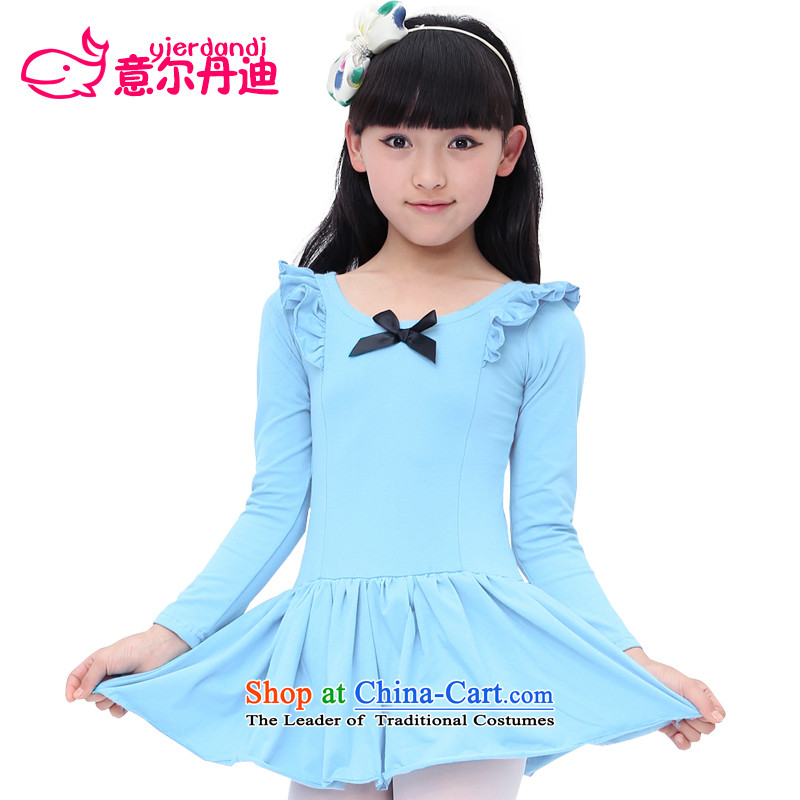 2015 new children dance wearing girls in pure cotton dress long-sleeved exercise clothing on document will serve the performance appraisal ballet long-sleeved blue 140