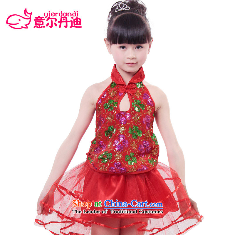 Children costumes girls folk dances of ancient costumes dance dance fairies skirt child care services such as children's dance bon bon dress Red聽130