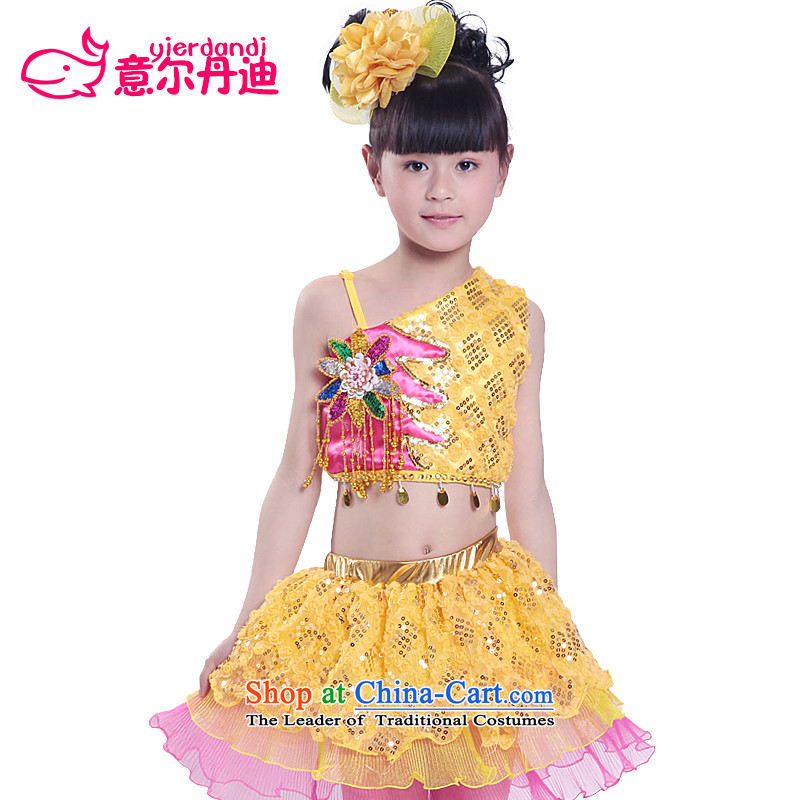 The new Child Care Services modern dance performances theatrical performances on-chip performance split dress girls show dress princess skirt yellow聽130