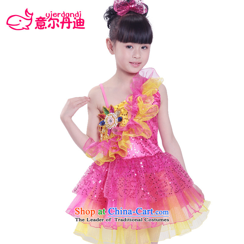 The new child costumes dance performances to children's apparel girls modern dance on chip bon bon dress that early childhood stage performances in red 130 Clothing