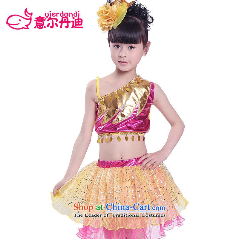 Children will girls modern dance show apparel early childhood split off-chip dance bon bon dress children dance scene skirt Red?130
