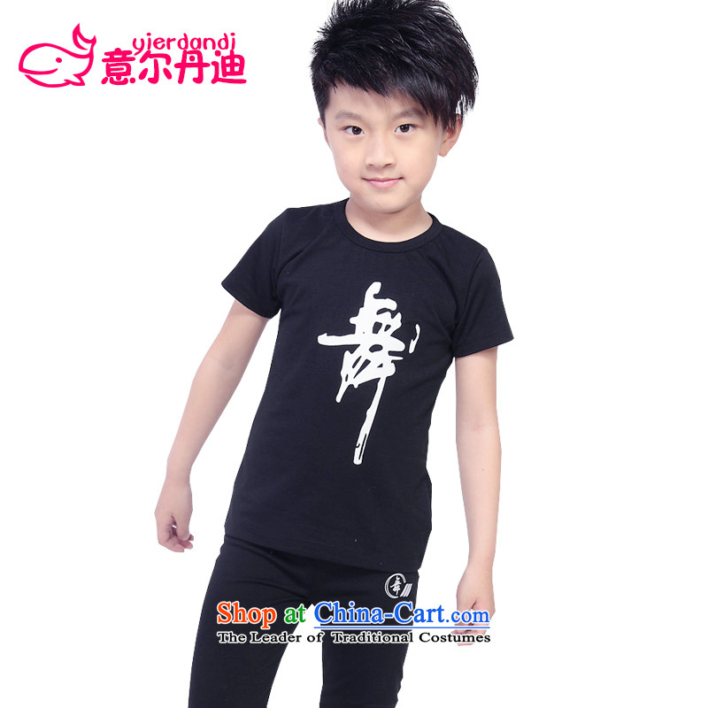 2015 New Child Latin dance exercise clothing boy dance wearing a short-sleeved children will dance Yi Package Early Childhood Black 120