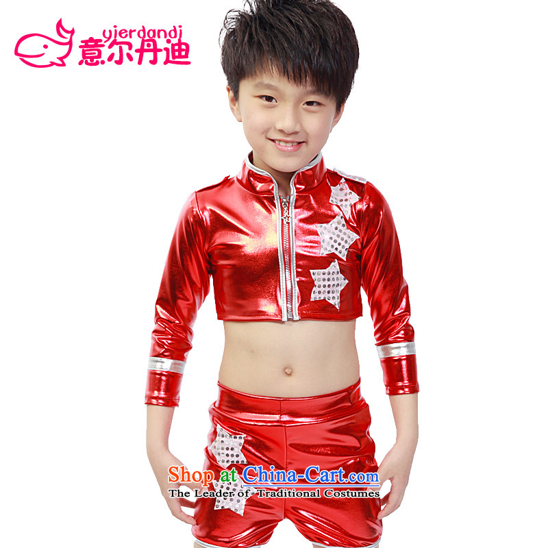 Children's entertainment services to boys and girls costumes and Jazz Dance Dance Dance performances by street children modern dance on the dress leather dance wearing red 140