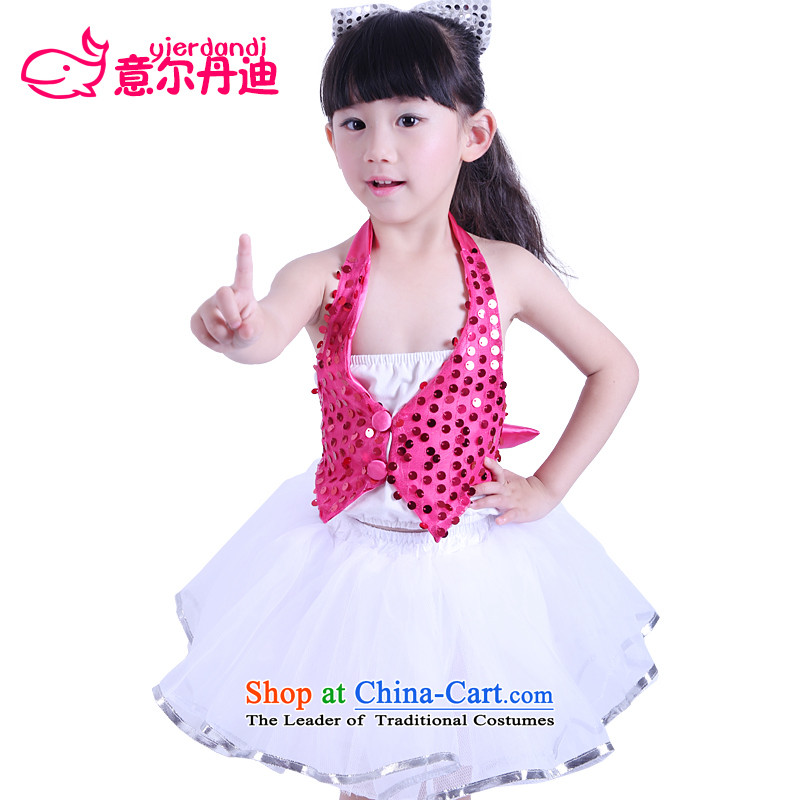The new Child Care dance wearing girls costumes princess skirt children on chip modern dance performances dress uniform dance skirt the Red 160