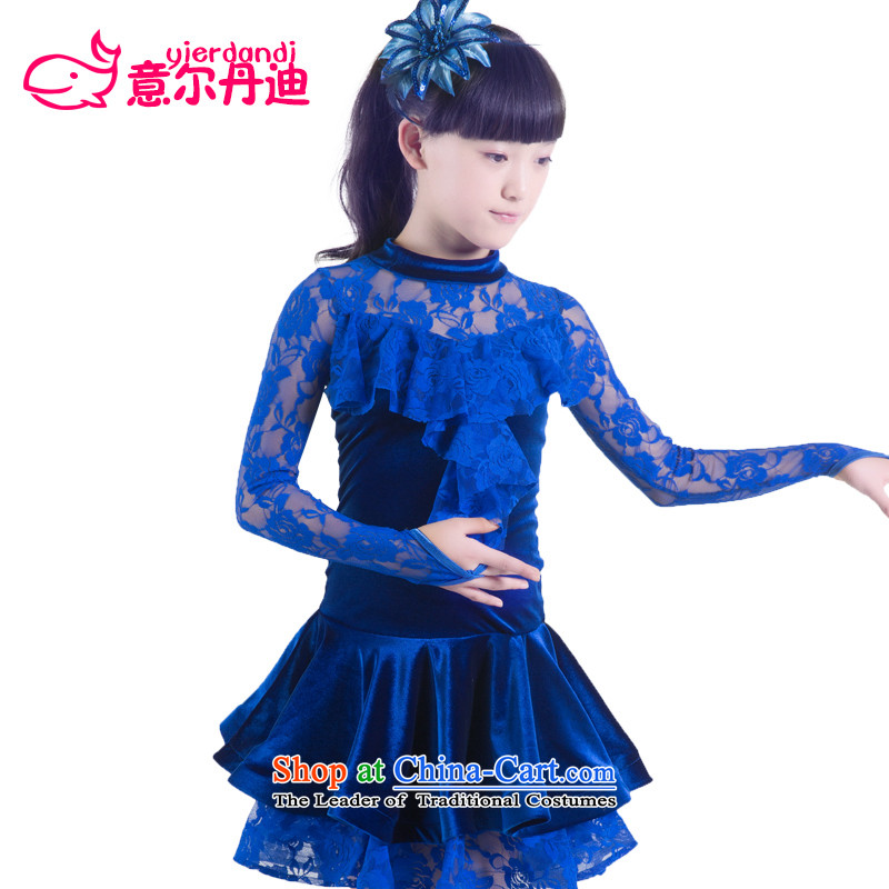 Children Latin dance wearing long-sleeved autumn and winter lace Latin dance show services for children with the skirt exercise clothing dance competitions services Blue160