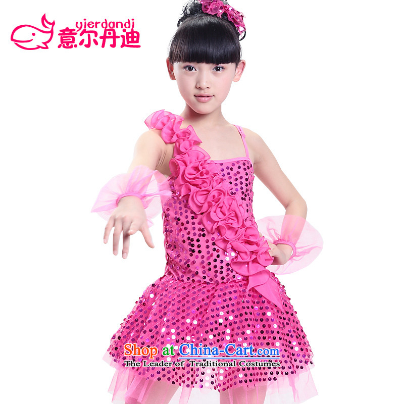 The new children's entertainment services on-chip lace dance skirt early childhood programs dance dress modern dance show competition in services Red 140