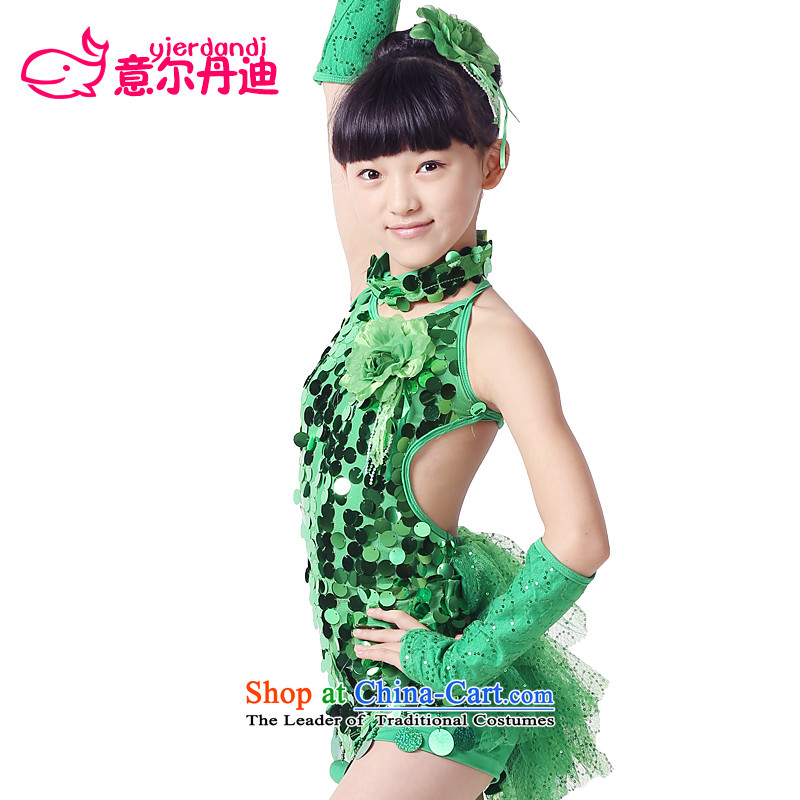 The new Child Latin dance services for children with costumes and on-chip Latin dance skirt will show girls serving game services show services dance skirt Green130