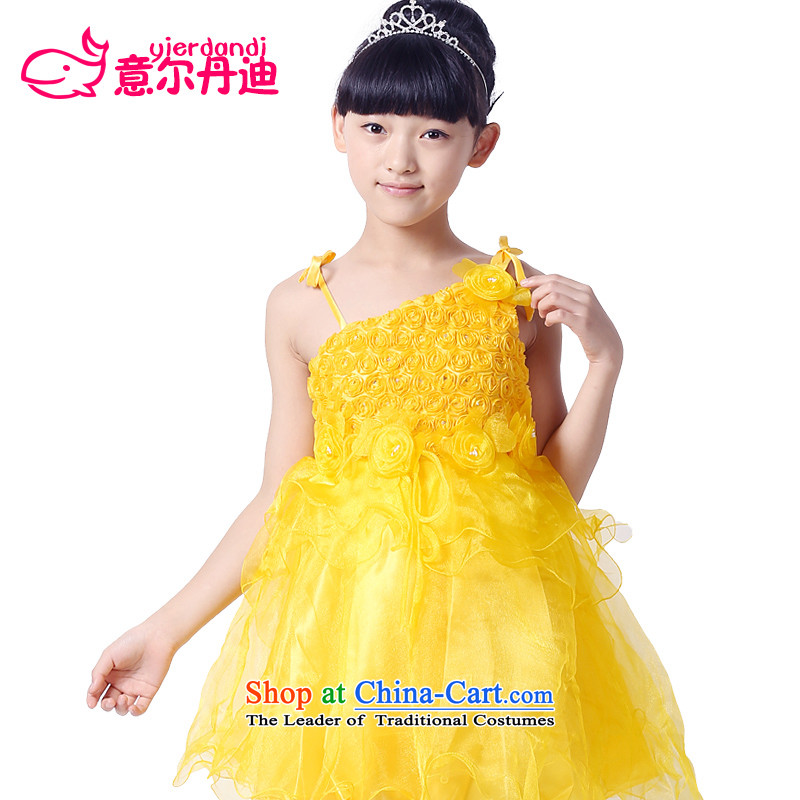 The new girls dress that children will dress princess skirt wedding dresses show children's wear bon bon dresses flower girls dancing girl skirt yellow聽130