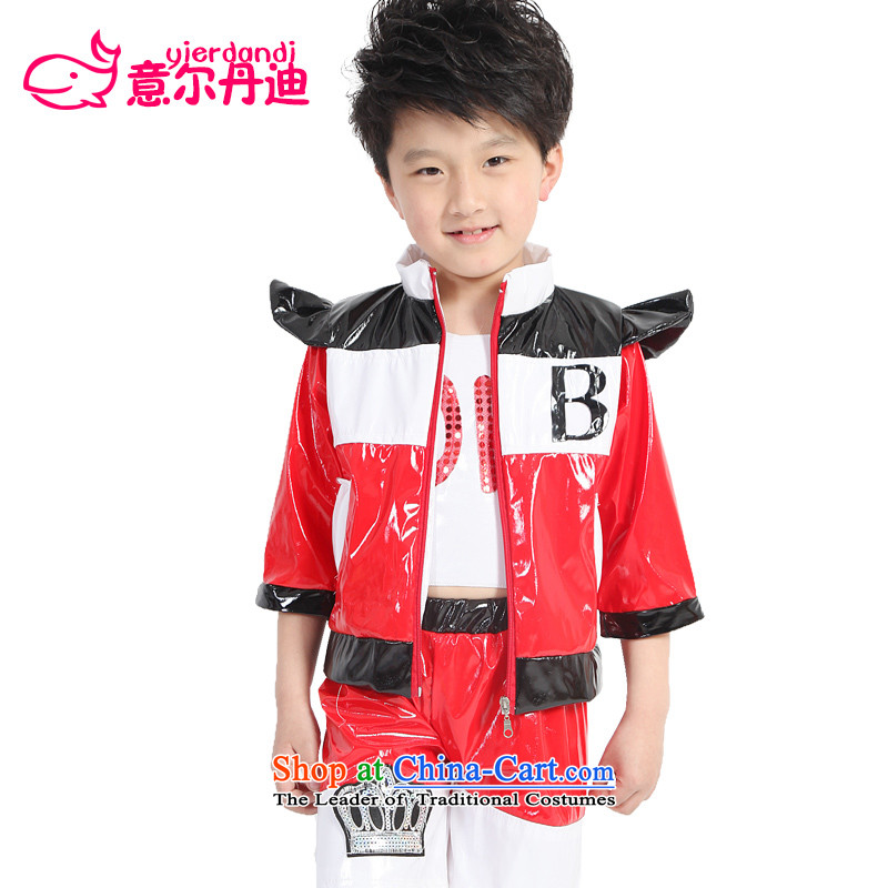 The children of the new will dress Street Children Dance services services for children with jazz dance dance performances to paint a dance performance Leather Wear Clothing Kit Red聽130