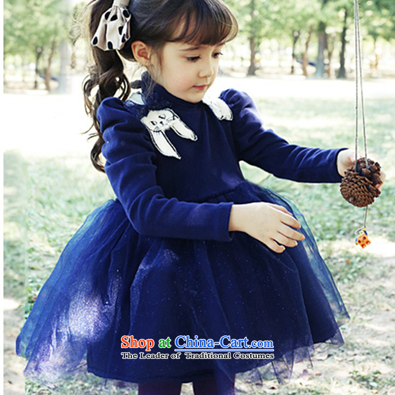 Children's wear girls in spring and autumn 2015 children fall and winter new Korean fashion sense of sweet long-sleeved dresses Korean lady skirt (C Blue140