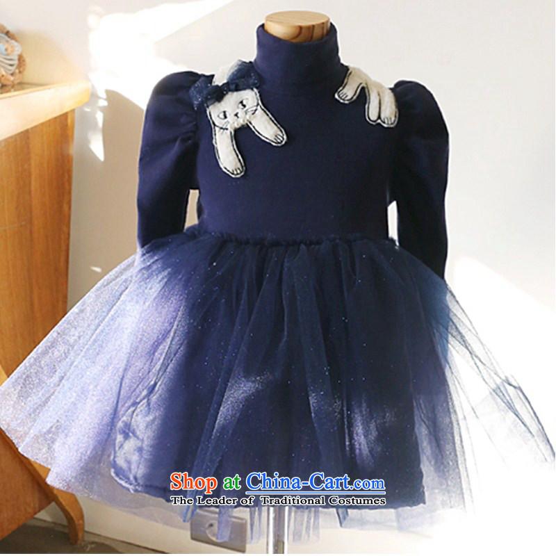 Children's wear girls in spring and autumn 2015 children fall and winter new Korean fashion sense of sweet long-sleeved dresses Korean lady skirt (C聽D 140 BLUE YOGA (VINIKAVEN) , , , shopping on the Internet