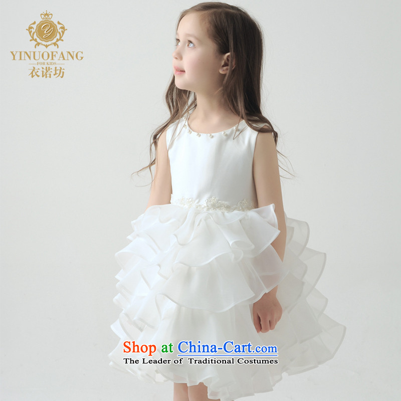 The workshop on Yi Girls Princess skirt children sailers bon bon skirt short, lace dress Flower Girls wedding dress will fall and winter 2015 New White 150