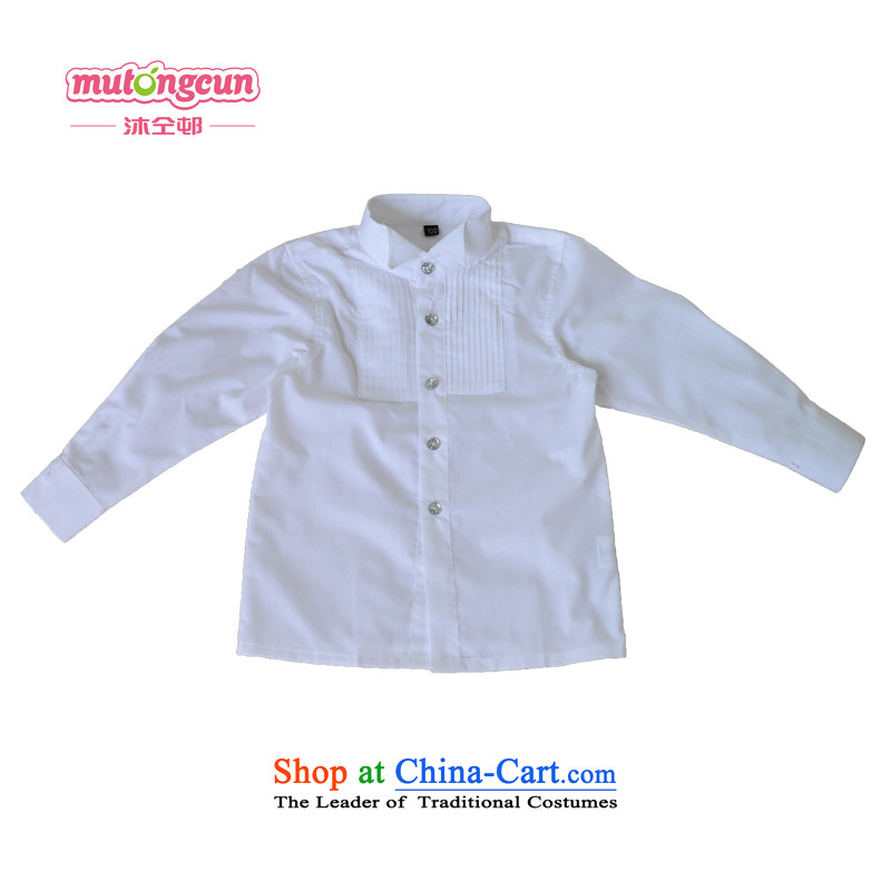 Bathing in the staff of the estate children Dress Shirt boy suit shirt young gentleman long-sleeved baby wear the Flower Girls Boys white long-sleeved shirt 120cm