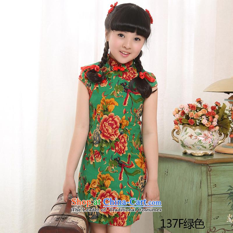 Beautiful dolls Soo children by 2015 girls qipao summer new cotton linen dresses Tang Dynasty Show137F skirt Green150