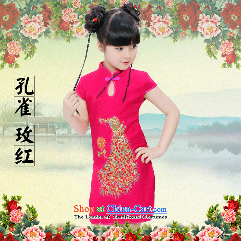 Beautiful dolls Soo children by 2015 girls qipao summer new cotton linen dresses Tang Dynasty Show skirts of peacock Red?130