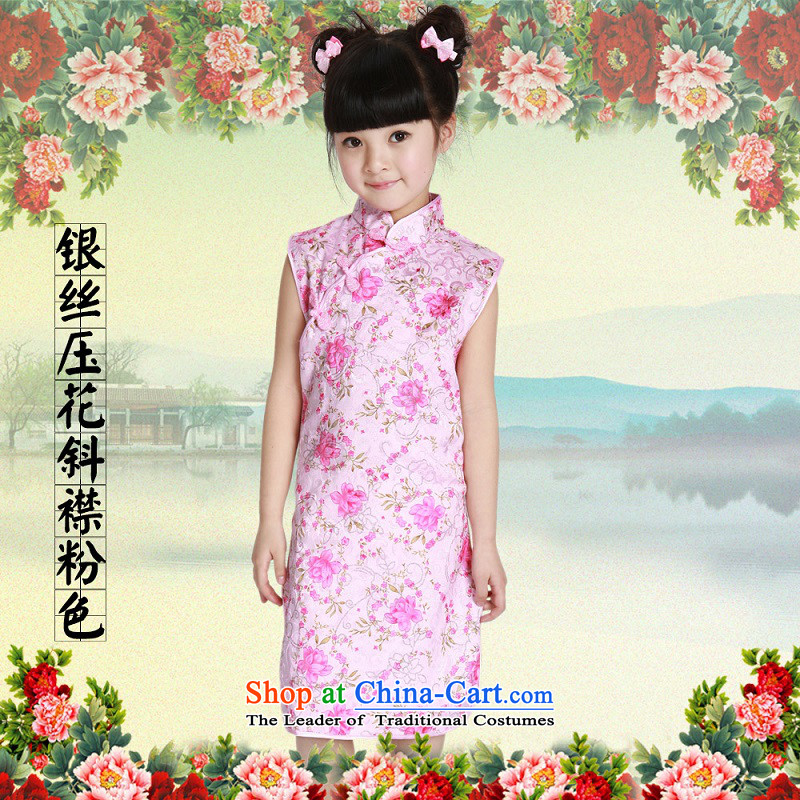 Beautiful dolls Soo children by 2015 girls qipao summer new stretch days silk and cotton Tang Dynasty Show dressA skirt silver embossing ramp up pink140