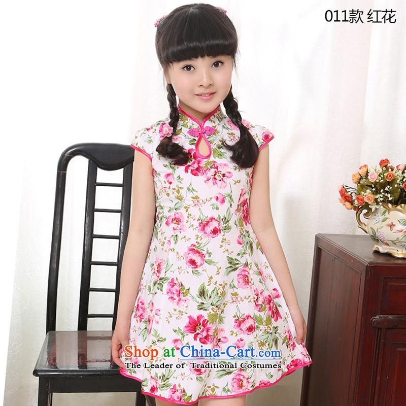 Beautiful dolls Soo Children Summer 2015, CUHK women cheongsam children's wear new full-Tang Dynasty Show dresses cotton dress�011 safflower�110