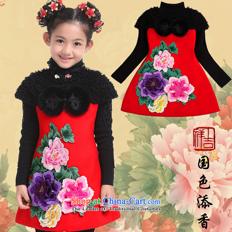 Beautiful dolls Soo-Tang dynasty children winter girls New Year Concert Dress Shirt thoroughly skirt qipao folder under MyCountry T30 Color Tianxiang Chinese Red150