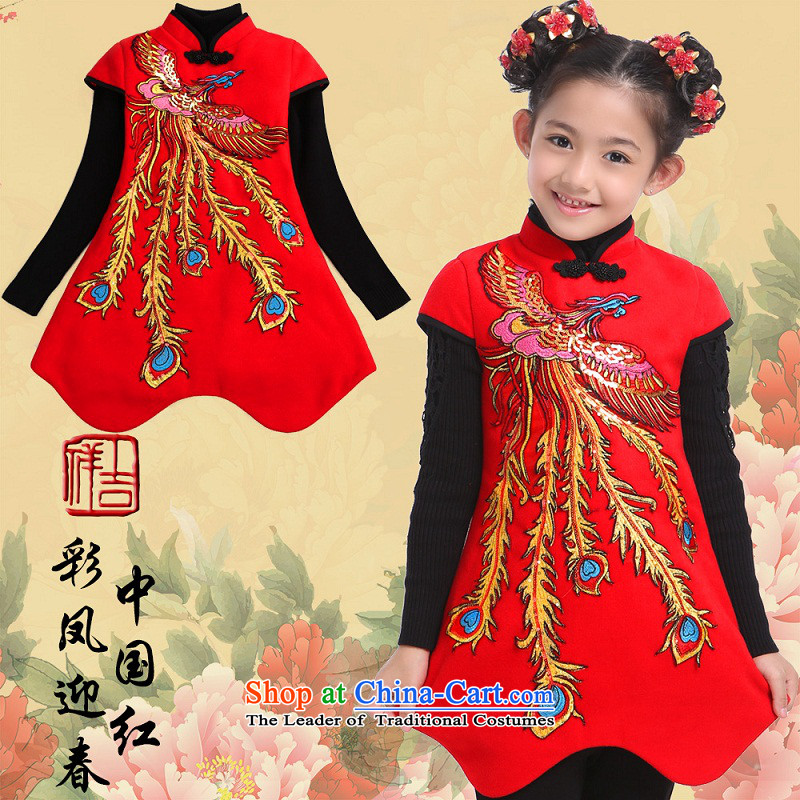 Beautiful dolls Soo-Tang dynasty children winter girls New Year Concert Dress Shirt thoroughly skirt qipao folder under My T22 multimedia Fung Ying Chinese Red 150