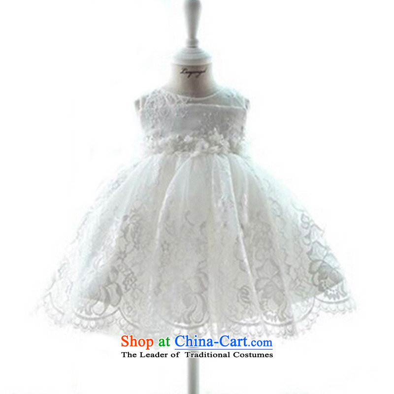 There is a story of children's wear under the property of the new Korean girls Flower Girls dress skirt skirt white children performances wedding dress princess skirt white聽90