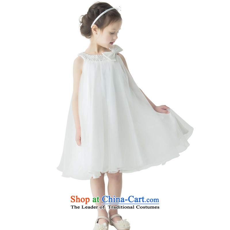 Jasmine children's wear dresses Po Children Princess skirt girls Flower Girls show a large service bow tie 360 sleeveless round skirt Top Loin of ivory聽150 - chest waist 74 76.