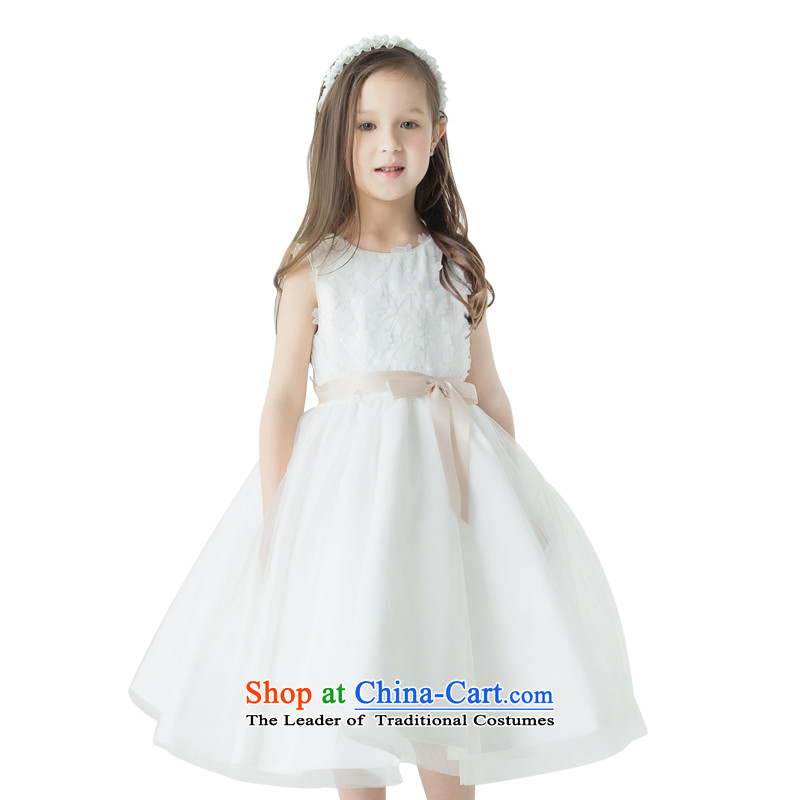 Jasmine children's wear dresses Po Children Princess skirt girls dress skirt Flower Girls dance exercise clothing sleeveless manually flowers lap celebrate Children's Day Show Services ivory聽140 - chest waist 71 74.