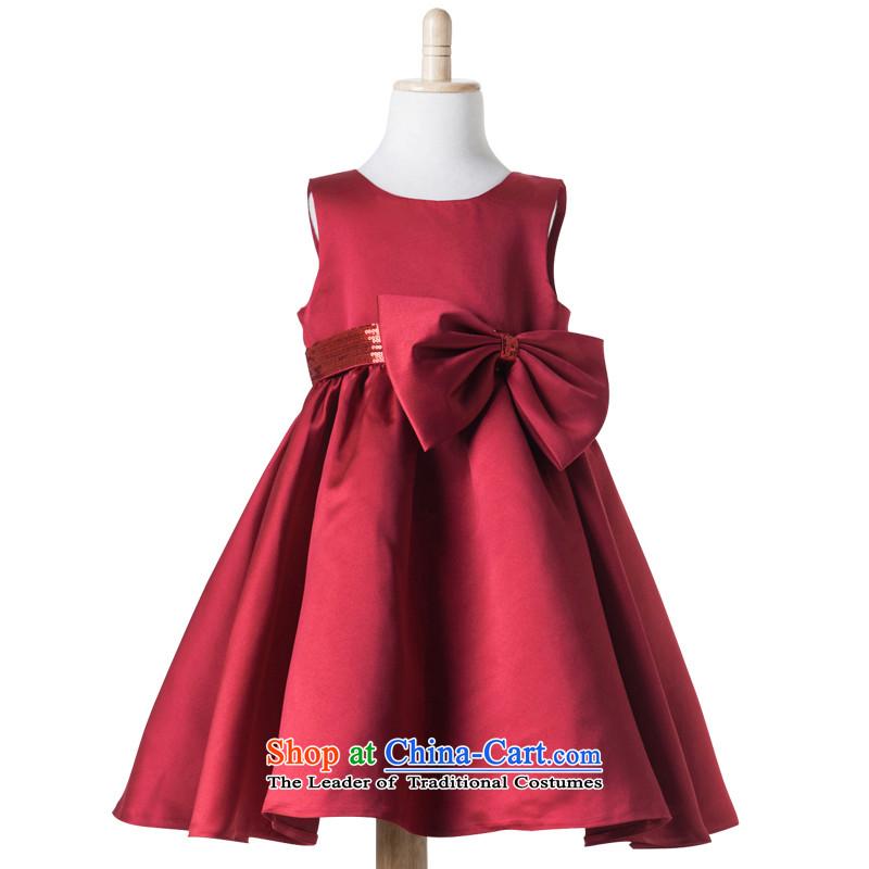 Po Jasmine children serving children's wear dress show moderator will dress princess skirt girls butterfly belt skirts on-chip skirtL15001001wine red140 - chest waist 71 74.