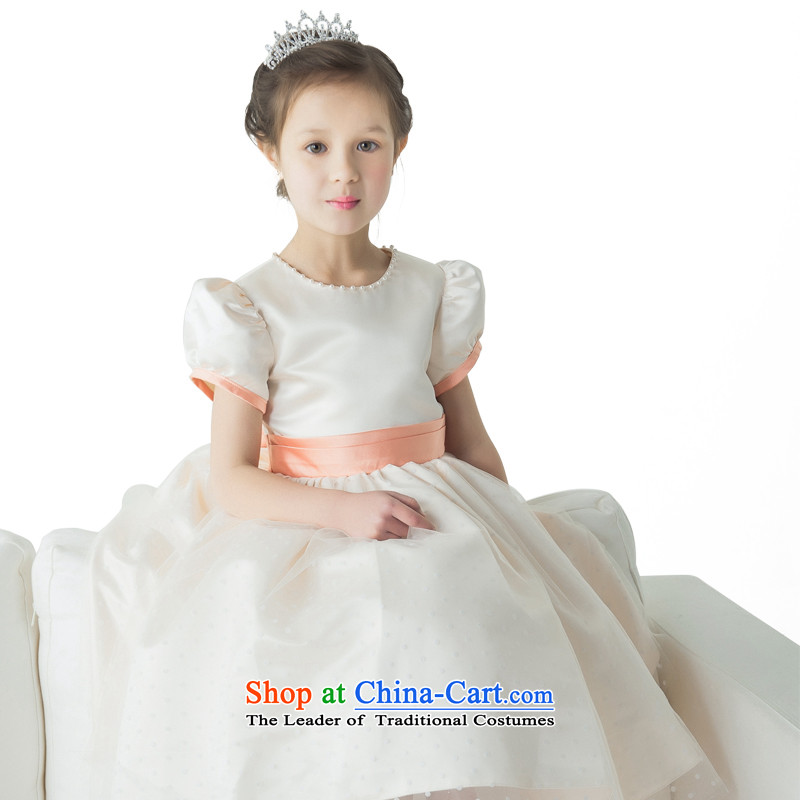 Po Jasmine children's wear children's entertainment services flower girls wearing princess skirt girls dress dances to bubble pocket pearl tie point dress L15001010 champagne color and size - 5 Days custom shipping