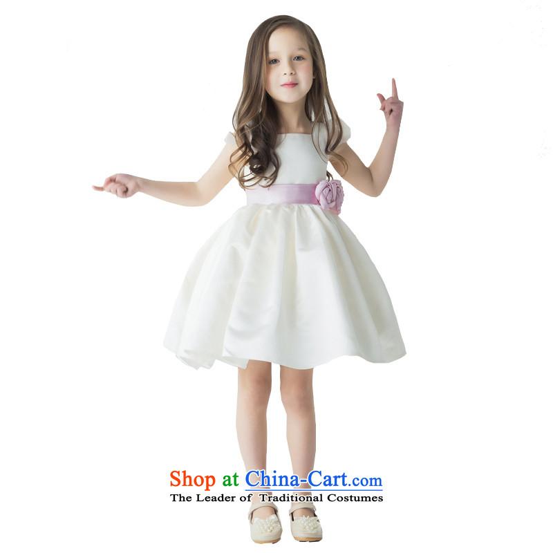 Po Jasmine children dress child princess skirt girls dress skirt Flower Girls will ivory white short-sleeved purple flowers L15001011 manually Custom custom-size ivory - 5 day shipping
