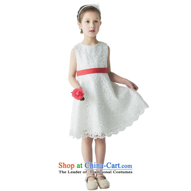 Po Jasmine children dress princess skirt girls show in children's wear skirts will dinner dress lace sleeveless A skirt L15002011 white�140 - chest waist 71 74.