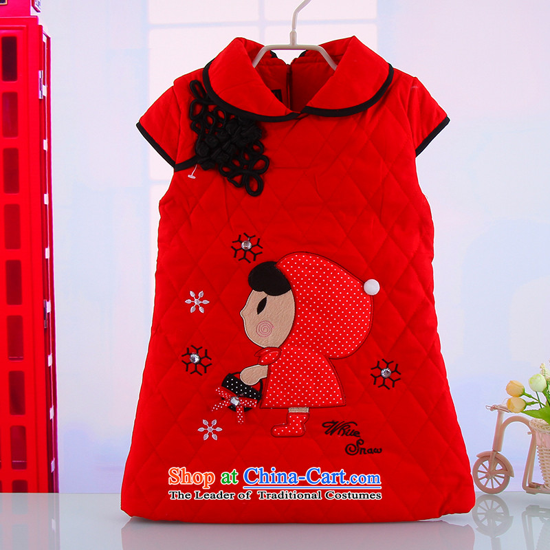 The new child winter thick warm Tang dynasty qipao girls goodies outdoor pure cotton Little Red Riding Hood Tang dynasty 5348 Red 110