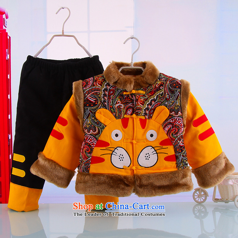 The autumn and winter new children's long-sleeved warm thick outdoor Tiger Tang dynasty boy New Year Holiday 5342 ethnic yellow聽110