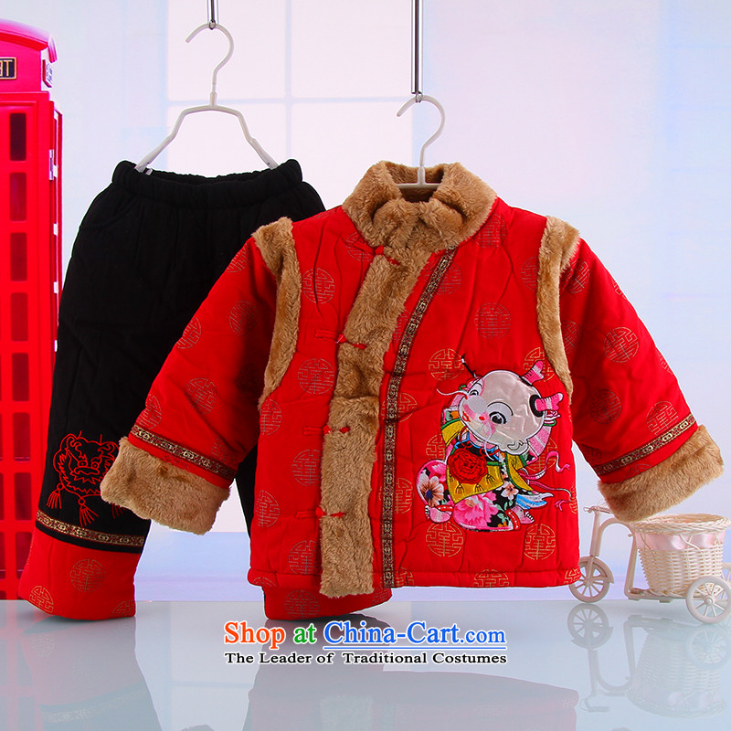 Winter new boys and girls baby Tang Dynasty New Year long-sleeved thick warm winter outdoor national services5344 Red 100