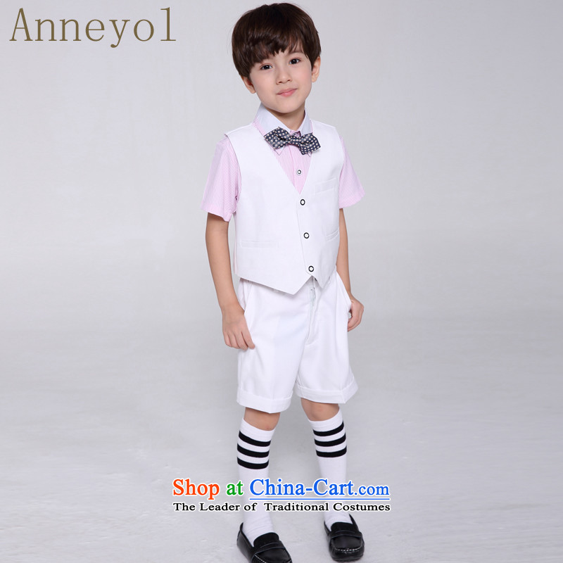 Children's dress boy dress Kit 100 days your baby is fitted to suit, a flower girls suits kit shirt + White Horse a toner + white shorts + Tip tie聽140