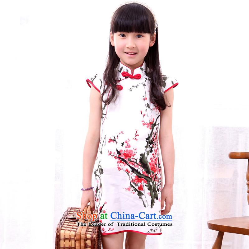 Ethernet-Summer Children qipao girls Tang dynasty princess skirt pure cotton Da Tong Zheng will national small girls qipao ink Arabic Mui shall150